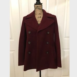 OLD NAVY Pea Coat, Maroon/Cranberry, S